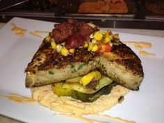 Blackened Mako Shark, Roasted Red Pepper, Grits and Fried Chorizo
