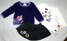 Denim Skirt Set Purples Gymboree 4pc Sweater Fall Winter Girl size 6-12 mo New #Gymboree #DenimSkirtandSweater4pcOutfit