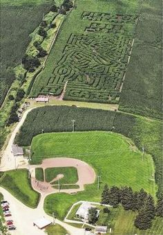 This aerial photo shows the Field of Dreams baseball field