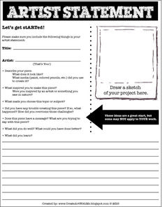 Help your students learn to self-assess and RESPOND to their artwork: Create Art With Me!: Artist Statement Form for Middle School: