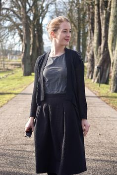Skirt from H&M, t-shirt &Other Stories, cardigan H&M