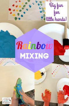 This is such a fun color mixing activity! It combines science and a bit of mess - perfect for kids! Plus some fine motor skills. The kids loved making rainbows with their hands! Kids Learning Activities, Fun Learning, Preschool Activities, Arts And Crafts Projects, Science Projects, Toddler Science Experiments, The Learning Experience, Learning Colors, Business For Kids
