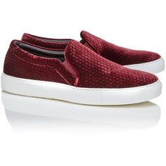 Joshua Sanders Burgundy Velvet Slip on Trainers (445 CAD) ❤ liked on Polyvore featuring shoes, sneakers, red, slipon shoes, round toe shoes, red sneakers, round cap and burgundy shoes