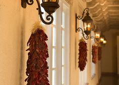 Hilton Santa Fe Historic Plaza Hotel - New Mexico Spanish Haciendas, Santa Fe Plaza, Plaza Hotel, New Mexico, Candle Sconces, Chile, Photo Galleries, Wall Lights, Wreaths