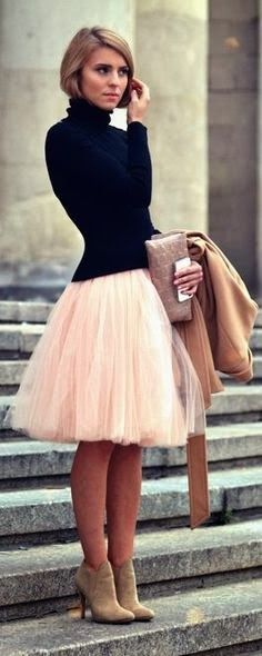 light pink tulle paired with a black turtleneck sweater, nude heels. not for the faint of heart! ~