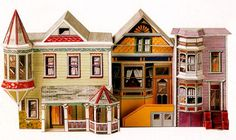 Three Victorian House Paper craft free templates