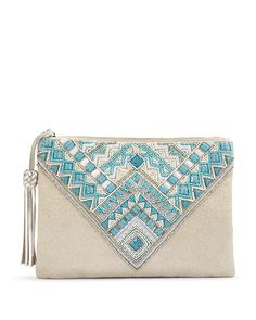Dress up your look with this beaded clutch. Simulated turquoise and cream-colored beads stand out on a shimmery metallic fabric. Beaded Clutch, Beaded Bags, Best Leather Wallet, Embroidery Bags, Fabric Bags, Fabric Basket, Boho Bags, Jute Bags, Patchwork Bags