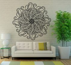 Mandala Wall Decal Flower Mandala Vinyl Sticker Indian Lotus Murals Interior Home Decor (7ma4l)