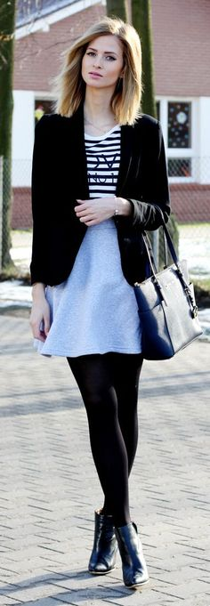 Gray Skirt On Bw Outfit