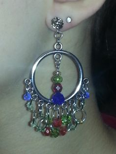 Hoops with colored dangles-$10