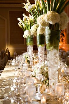 Tall Vase Centerpieces (with Casablanca Lilies instead of Calla Lilies) | Isari Flower Studio & Event Design