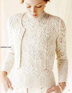 Ravelry: Winter White Cardigan pattern by Hitomi Shida (志田 ひとみ). Vintage Knitting, Lace Knitting, Crochet Lace, Crochet Granny, Knitting Needles, Lace Cardigan, Cardigan Pattern, Jumpers For Women, Cardigans For Women