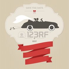 Vintage wedding invitation with bride and groom riding retro car