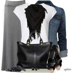 Fall outfit with lovely accessories. Work a cute maxi skirt into your wardrobe for fall