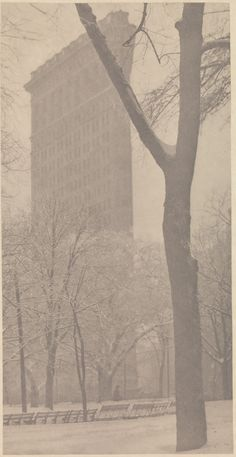 [p. 3 in What Are You Looking At?] Alfred Stieglitz (American, 1864–1946). The Flatiron, 1903. Photogravure; 32.8 x 16.7 cm. New York: The MET, 49.55.16. Found by: Erin