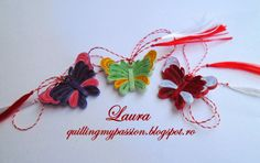 quilling my passion: martisoare fluturasi Quilling Butterfly, Paper Quilling, Butterflies, Quilling Ideas, Quilling Christmas, Christmas Ornaments, Kirigami, Paper Art, Objects