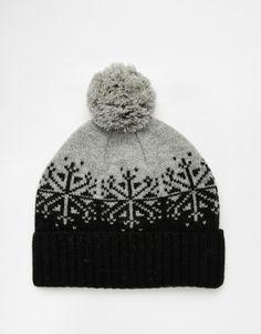 Image 1 - ASOS - Bonnet à pompon en laine d'agneau avec motif jacquard - Gris et…