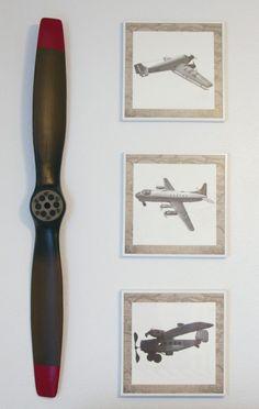 Project Nursery - White Vintage Boy Airplane Nursery Wall Art