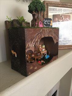 Christina second-grade diorama project. Shoe Box Diorama, Diorama Ideas, Fox Habitat, School Projects, Projects To Try, Book Presentation, Fox Crafts, Fantastic Mr Fox, Fox Toys