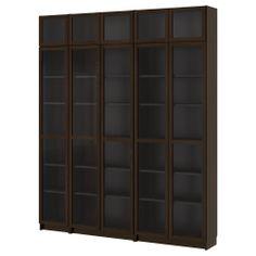 billy biblioth ques brun noir avec portes en verre tremp et grundtal clairage vitrine en acier. Black Bedroom Furniture Sets. Home Design Ideas