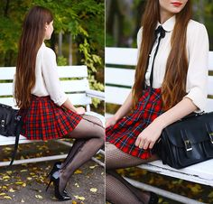 Ariadna Majewska - Sheinside Peter Pan Collar Shirt, Red Plaid Skirt, Black Bag - School girl  Poland