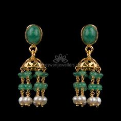 Mesmerizing collection of gold earrings from Kameswari Jewellers. Shop for designer gold earrings, traditional diamond earrings and bridal earrings collections online. Buy Earrings, Jewelry Design Earrings, Gold Earrings Designs, Emerald Jewelry, Gold Jewellery Design, Rose Gold Jewelry, Beaded Jewelry, Earrings Online, Gold Designs
