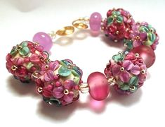 Laura Weiss Critchfield glass bracelet, floral glass beads, pink and red beads, blown hand,add glass beads