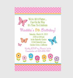 BUTTERFLY INVITATION / Girls Birthday Party/ by traditionsbydonna, $13.00