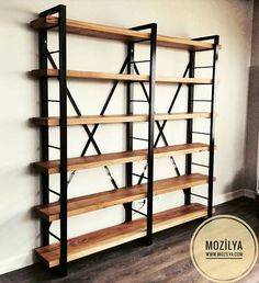 Stylish design industrial style bookcase model for working room and offices. # ahşapkitaplık # masifkitaplık to room -