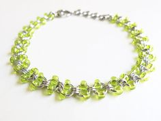 Stainless Steel Beaded Anklet - Lime Chainmaille Anklet by @Alyce Posey n Maille