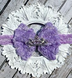 Lavender Princess Tiara/ Crown Rosette Bow by AshlynRoseBows