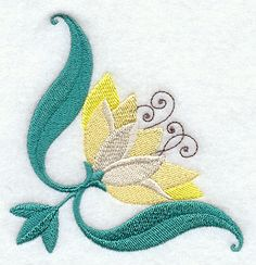 Lotus Flower Corner Machine Embroidery Designs at Embroidery Library! - Color Change - E4134