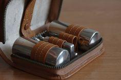 Classic Shaving Kit With Safety Razor - Vintage Dopp Kit With Soviet Safety Razor - Retro Leather Shaving Kit - Grandpa Shaving by GrandpaShaving on Etsy