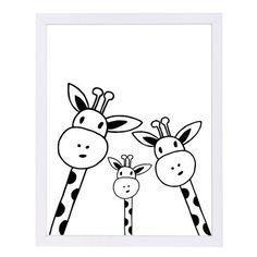 Easy Drawings Giclee Print: Giraffe by Nanamia Design : - Doodle Drawings, Doodle Art, Easy Drawings, Animal Drawings, Kunst Poster, Art Graphique, White Art, Black Art, Nursery Art