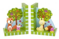 Orange Tree Toys Woodland Bookends are incredibly cute. These wooden bookends have been beautifully crafted with a gorgeous painted finish and make a great and very useful bedroom or playroom accessory. Childrens Bookends, Wooden Bookends, Orange, Dream Kids, Wooden Baby Toys, Non Toxic Paint, Forest Friends, Woodland Animals, Woodland Theme