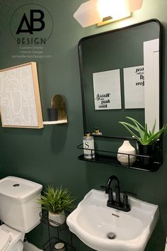 Best Garden Decorations Tips and Tricks You Need to Know - Modern Green Small Bathrooms, Green Bathroom Paint, Small Bathroom Paint Colors, Green Bathroom Colors, Powder Room Paint, Powder Room Design, Small Toilet Room, Modern Powder Rooms, Bathroom Interior Design