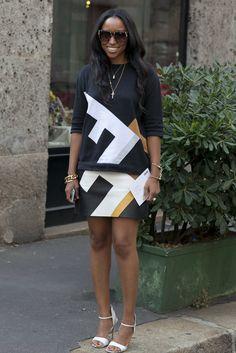 Shiona Turini did statement print on statement print — with sleek | All the Best Street Style Straight From Milan Fashion Week! | POPSUGAR Fashion