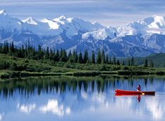 Canoeing in Denali National Park, Alaska. Denali National Park and Preserve is located in Interior Alaska, centered on Denali, the highest mountain in North America. The park encompasses more than 6 million acres, of which acres are federally owned. Vacation Destinations, Dream Vacations, Vacation Spots, Cruise Vacation, Family Vacations, Parc National, National Parks, Places To Travel, Places To See