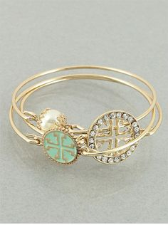 Set of 3 Mint and Goldtone Cross Bangle by JewelJunkieShop on Etsy, $19.00 {this bracelet set is so stinkin cute I can't get over it}