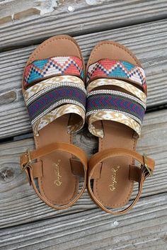 Sizzling Style Multi Color Aztec Print Flat Camel Sandals