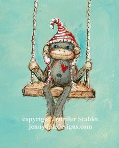 Sock monkey art-  Sock monkey on a swing: Art print with or without mat (fits 8x10 frame) on Etsy, $23.00 CAD