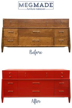 Love this mid century dress we refinished in a beautiful red! Diy Furniture Easy, Diy Furniture Projects, Furniture Makeover, Red Painted Furniture, Paint Furniture, Studio Foam, Painted Night Stands, Bedroom Night Stands, Acoustic Panels