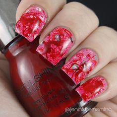 Blood Splatter mani over pink manicure  #nail #nails #manicure #fall #stamping #halloween #bloodsplatter #splatter