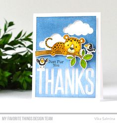 Handmade card from Vika Salmina featuring Stitched Clouds Die-namics #mftstamps