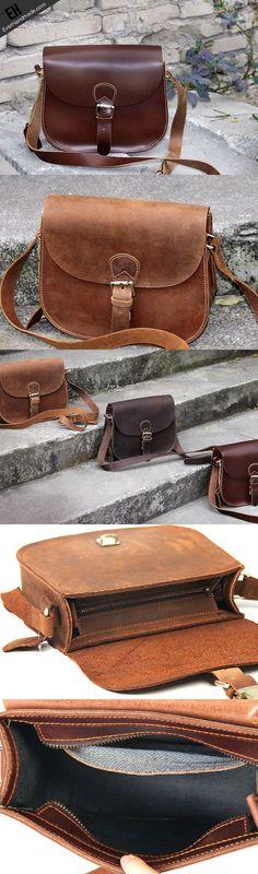 cool Handmade vintage leather messenger crossbody Shoulder Bag for girl wom | EverHan...