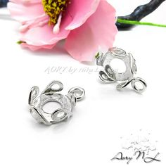 1pcs 925 Sterling Silver Wave Bezel Pendant for 8mm by AoryNL