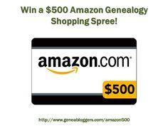 Win a $500 Amazon Genealogy Shopping Spree http://www.geneabloggers.com/giveaways/win-a-500-amazon-genealogy-shopping-spree/?lucky=45992