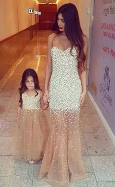mother and daughter dresses, mermaid long 2017 champagne prom dress, 2017 flower girl dress