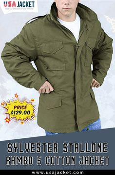 Let's Have Military Appearance! Get Sylvester Stallone Rambo 05 Field Jacket at Amazing Greenish Color. Sylvester Stallone Rambo, Field Jacket, Cotton Jacket, Military Jacket, Jackets, Men, Down Jackets, Field Jackets, Military Jackets