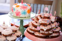 Pretty Pink Icing Birthday Layered Donut Cakes | Beautiful Cake Pictures--This general look